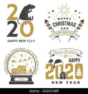 Set of Merry Christmas and 2020 Happy New Year stamp, sticker Set quotes with snowflakes, snowman, firework rockets, rat, gift. Vector. Vintage typography design for xmas, new year emblem - Stock Photo
