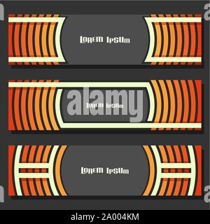 Vector set of Banner templates: 3 orange futuristic headers with curve element on grey background, three horizontal banners with geometric design for - Stock Photo