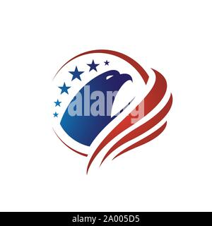 us flag american eagle head logo vector design concept illustrations - Stock Photo