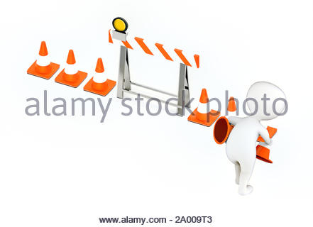 3d white guy , placing traffic cones -barrier and traffic cones - 3d rendering - Stock Photo