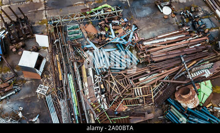 scrap metal dump top view aerial photography from a drone - Stock Photo
