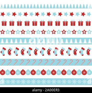 Christmas vector borders. Seamless ornament - Stock Photo