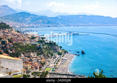 Breathtaking landscape of Vietri sul mare on Amalfi coast , as seen from Raito - Stock Photo