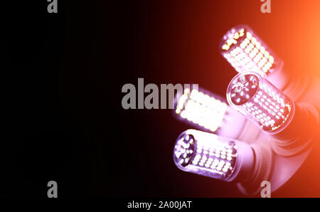 LED elements in the lamp. Lamps with diodes. Many bright lights from diode lamp. - Stock Photo