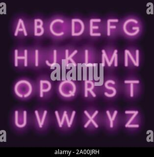 Vector neon alphabet. Realistic glowing letters - Stock Photo