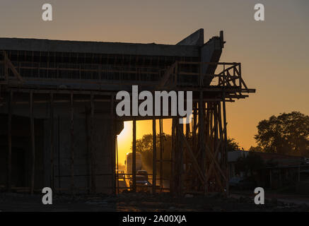 Construction works of a viaduct on a federal highway in the city of Santa Maria, RS, Brazil. Engineering works in viaduct construction. Road infrastru - Stock Photo
