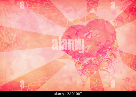 Abstract grunge heart shape on paper texture background. - Stock Photo