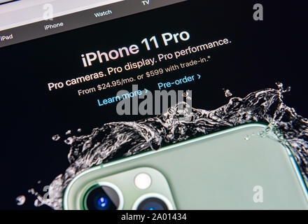 Kyiv, Ukraine - September 12, 2019: A close-up shot of apple.com website with announcement about Apple Inc. officially released the new iPhone 11 Pro - Stock Photo