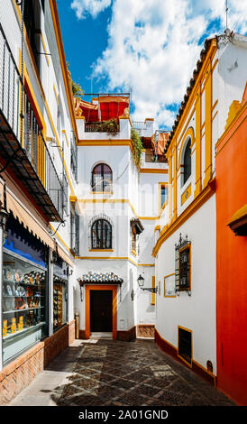 Old picturesque passageway in the medieval Jewish Quarter of Santa Cruz in Seville, Andalusia, Spain.