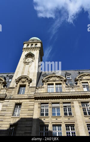 Astronomy Tower of the Sorbonne University with blue sky. Paris, France. - Stock Photo