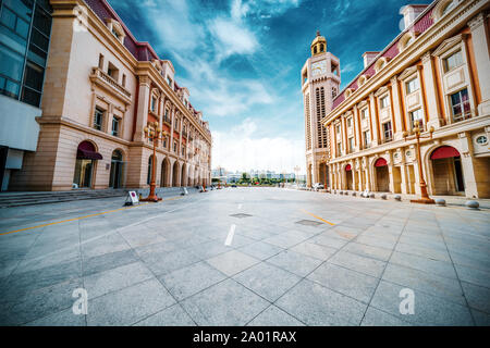 City square and historic buildings, Tianjin, China. - Stock Photo