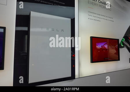 Seattle,WA/USA-9/15/29: A Tesla Battery Powerwall at the Tesla dealership in Seattle, WA.  Tesla, Inc. is an American automotive and energy company th - Stock Photo