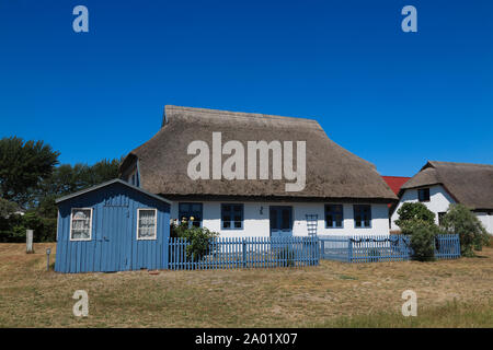 Neuendorf, thatched house, Hiddensee island, Baltic Sea, Mecklenburg Western Pomerania, Germany, Europe - Stock Photo
