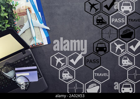 Air ticket and passport for flight plane. Travel concept. Ticket booking. - Stock Photo