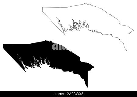 Gulf Province (Independent State of Papua New Guinea, PNG, Provinces of Papua New Guinea) map vector illustration, scribble sketch Gulf map - Stock Photo
