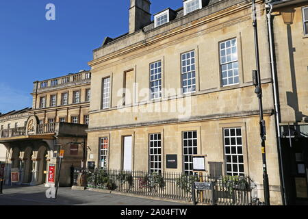 New Theatre Royal and Beau Nash House, Sawclose, Bath, Somerset, England, Great Britain, United Kingdom, UK, Europe - Stock Photo