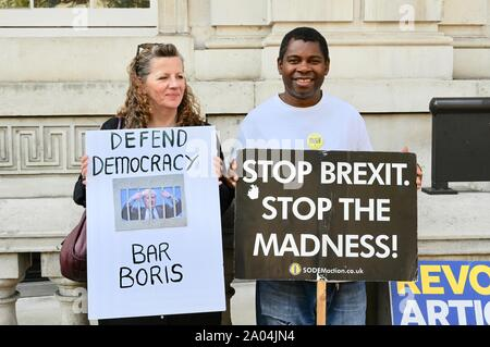 Stop Brexit, Stop the Coup, Pro Democracy Protest, The Cabinet Office, Whitehall, London. UK - Stock Photo