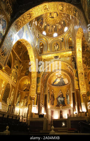 Richness and beauty of Palatine chapel in Palermo, vertical - Stock Photo