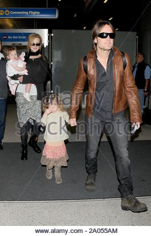 Los Angeles, CA - Nicole Kidman and her husband Keith Urban and their girls arrived at LAX today. AKM-GSI March 28, 2012 - Stock Photo