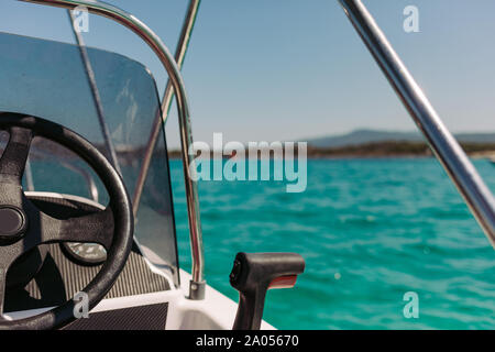 yacht control wheel and implement. Boat steering gear close up - Stock Photo