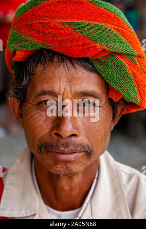 A Portrait Of A Man From The Pa'O Ethnic Minority, Nyaung Shwe, Shan State, Myanmar - Stock Photo