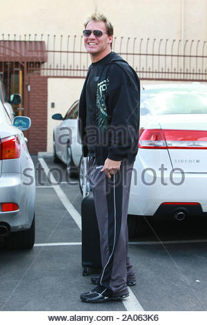 Hollywood, CA - Karina Smirnoff shows off a 'Dance On, Dance Off' t-shirt that she wore to practice today for her partner Ralph Macchio. After the first nights performance the stars and professionals are back in the studio early, ready to get serious about the dance competition. Kym Johnson and her partner Hines Ward put on a crowd pleasing performance, and Kym seems very happy about their chances. Chris Jericho is all smiles after getting through his performance with partner Cheryl Burke. Maksim Chmerkovskiy arrives eager to get to business with Kirstie Alley. Maksim and Kirstie are - Stock Photo