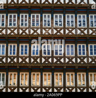 Facade of a half-timbered house in which all infills are taken up by windows. - Stock Photo