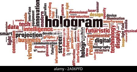 Hologram word cloud concept. Collage made of words about hologram. Vector illustration - Stock Photo