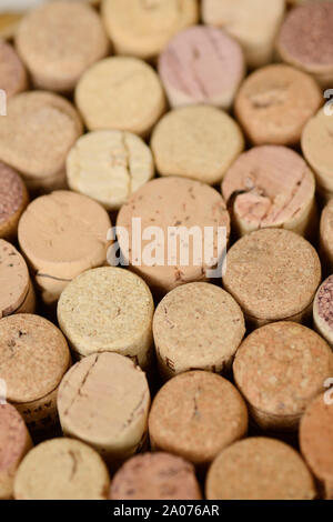 Close Up of Assorted Wine Corks - Stock Photo