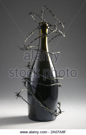 Barbed wire blocks alcohol bottle. Isolated on dark background. With copy space text. Studio Shot. - Stock Photo