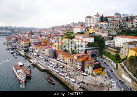 Porto, Portugal - December 2018: View from the Dom Luis I Bridge to the Ribeira area and the Douro River. - Stock Photo