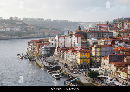 Porto, Portugal - December 2018: View from the Luis I Bridge overseeing the Ribeira area and the Douro River. - Stock Photo