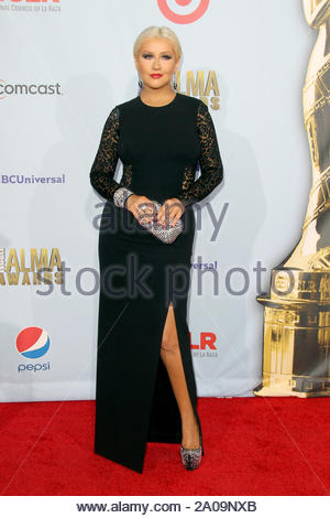 Pasadena, CA - Christina Aguilera on the red carpet for the 2012 NCLR ALMA Awards at Pasadena Civic Auditorium. AKM-GSI September 16, 2012 - Stock Photo