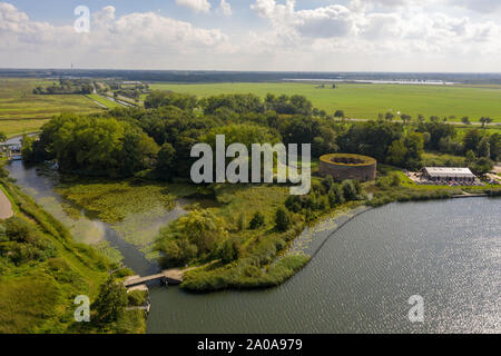 Fort Uitermeer, part of the Dutch Waterline next to the river Vecht from the air - Stock Photo