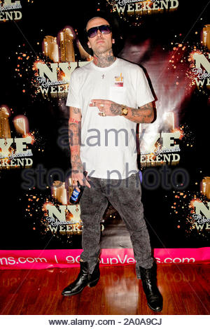 Las Vegas, NV - Travis Barker and Yelawolf hit the stage and perform live at the New Year Party held at the RAIN Nightclub at Palms Resort in Las Vegas, Nevada. AKM-GSI December 31, 2012 - Stock Photo