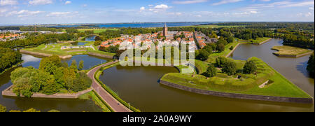 Naarden Vesting Netherlands, fortress city from the Middle Ages from the air - Stock Photo