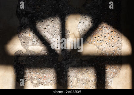 Black Blurry shadows of window on the concrete wall. minimal concept, for creative design - Stock Photo