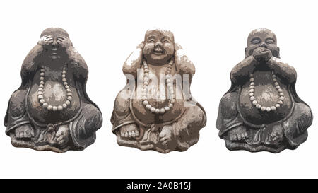 Illustration of three Buddha statues in a pose of three wise monkeys 'See no evil, Hear no evil, Speak no evil' isolated on white - Stock Photo