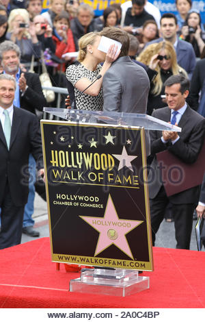 Hollywood, CA - Actress Scarlett Johansson received her star on the Hollywood Walk of Fame today and actor Jeremy Renner was there to say a few words and support her. 'The Avengers' which star Scarlett and Jeremy, will be released in theaters May 4th. AKM-GSI May 2, 2012 - Stock Photo