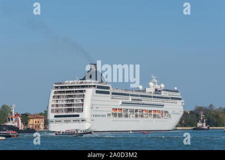 Cruise ship in port of Venice,Italy - Stock Photo