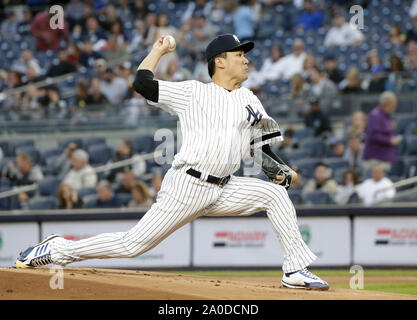 Bronx, United States. 19th Sep, 2019. New York Yankees starting pitcher Masahiro Tanaka throws a pitch in the first inning against the Los Angeles Angels at Yankee Stadium on Thursday, September 19, 2019 in New York City. Photo by John Angelillo/UPI Credit: UPI/Alamy Live News - Stock Photo