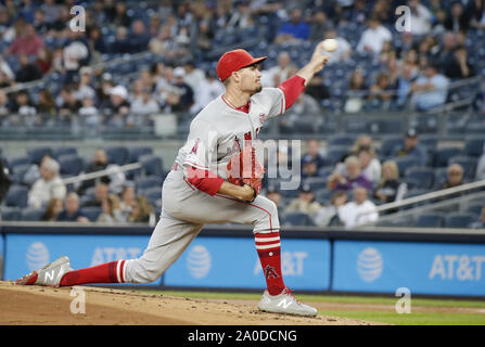 Bronx, United States. 19th Sep, 2019. Los Angeles Angels starting pitcher Andrew Heaney throws a pitch in the first inning against the New York Yankees at Yankee Stadium on Thursday, September 19, 2019 in New York City. Photo by John Angelillo/UPI Credit: UPI/Alamy Live News - Stock Photo