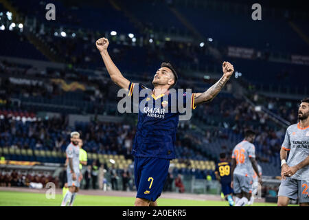 Rome, Italy. 19th Sep, 2019. Lorenzo Pellegrini of As Roma celebrates after scoring a goal during UEFA Europa League match between AS Roma and Istanbul Basaksehir at Olimpico Stadium.(Final score: AS Roma 4:0 Istanbul Basaksehir) Credit: SOPA Images Limited/Alamy Live News - Stock Photo