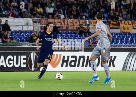 Rome, Italy. 19th Sep, 2019. Nicolò Zaniolo of AS Roma in action during UEFA Europa League match between AS Roma and Istanbul Basaksehir at Olimpico Stadium.(Final score: AS Roma 4:0 Istanbul Basaksehir) Credit: SOPA Images Limited/Alamy Live News - Stock Photo