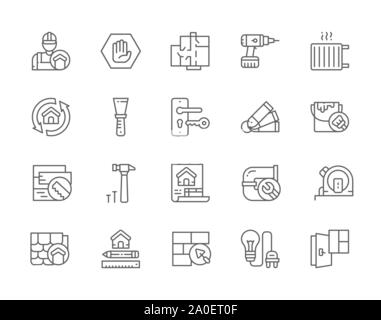 Set of Home Renovation Line Icons. Repairman, Putty Knife, House Plan and more. - Stock Photo