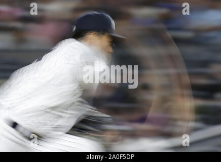Bronx, United States. 19th Sep, 2019. New York Yankees starting pitcher Masahiro Tanaka throws a pitch in the 5th inning against the Los Angeles Angels at Yankee Stadium on Thursday, September 19, 2019 in New York City. Photo by John Angelillo/UPI Credit: UPI/Alamy Live News - Stock Photo