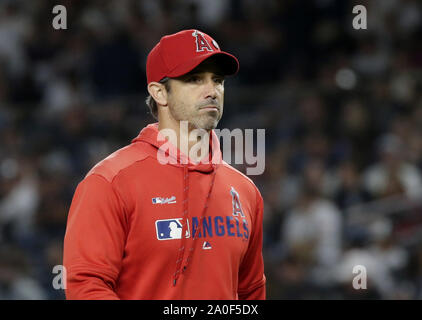Bronx, United States. 19th Sep, 2019. Los Angeles Angels manager Brad Ausmus takes starting pitcher Andrew Heaney out of the game in the 6th inning against the New York Yankees at Yankee Stadium on Thursday, September 19, 2019 in New York City. Photo by John Angelillo/UPI Credit: UPI/Alamy Live News - Stock Photo