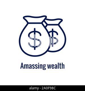 Retirement Savings Icon w retiring and monetary images - Stock Photo