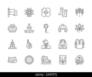 Set of Ukrainian Culture Line Icons. Mace, Wheat Ear, Wedding Bread and more. - Stock Photo