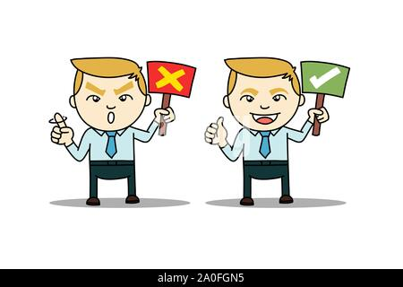 Worker business man with true and fault signs. Signature for deny and allow or good and bad. drawing vector illustration for presenting. - Stock Photo